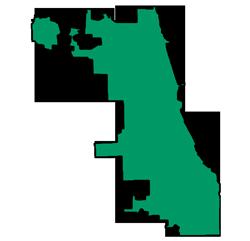Area map of door repair service in Chicago, IL